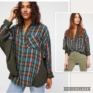 NWT Free People One Of The Guys Plaid Shirt